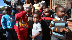 Children outside a crèche in the township of Imizamo Yethu, Cape Town, South Africa.