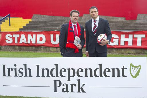 At The naming of Irish Independent Park, Cork: Geoff Lyons, Group Marketing Director, INM and Doug Howlett, former Munster player Photo: Michael Mac Sweeney/Provision