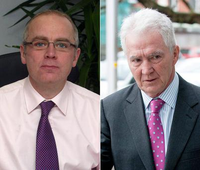Former Anglo chief executive David Drumm, left, and the bank's ex-chairman Sean FitzPatrick
