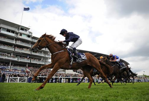 Aidan O'Brien's Ruler Of The World gallops to Epsom Derby glory under Ryan Moore last June - tomorrow in Dubai he will sport the colours of his new part-owner Sheikh bin Joaan Al Thani and will be ridden by Joseph O'Brien