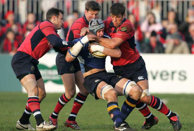 What kind of 'welcome home' was this in 2006 as I am tackled by the Munster trio of Trevor Halstead, Ronan O'Gara and Donncha O'Callaghan at Thomond Park