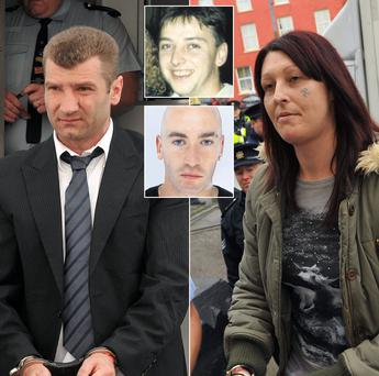 Ciprian Grozavu, left, outside court, and coaccused Catherine O'Connor, right, before she was jailed. Above: murdered man John Forrester and, below, second victim Jonathan Duke.