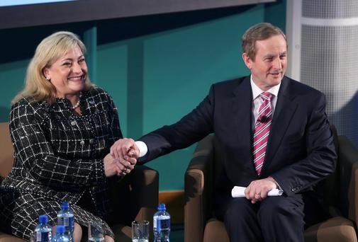 Taoiseach Enda Kenny with Intel president Renee James at the firm's plant in Leixlip, Co Kildare. Photo: Damien Eagers