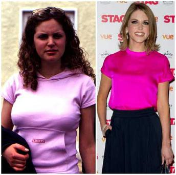 Actress Amy Huberman has always been a natural beauty... (L): Amy at an audition in 2003 (R): Amy pictured last week at the premiere of The Stag