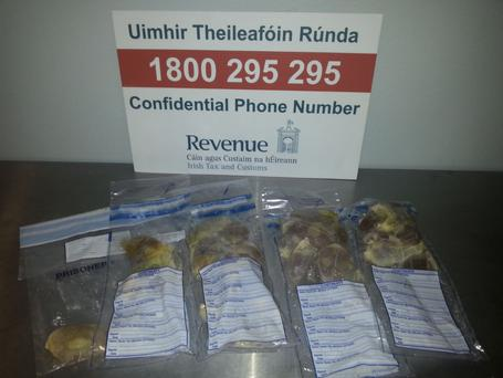 Customs officers at Dublin Airport seized the 1.64 kilograms of cocaine with an estimated street value of €114,800 on Wednesday. (Photo: Revenue)
