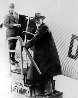 Psychoanalyst Dr. Sigmund Freud, of Vienna, departs on his first airplane flight from Tempelhof Field in Berlin, Germany, on Nov. 9, 1928. AP file photo