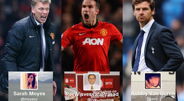 Mistaken identity: Three Twitter users with handles that might be confused for David Moyes, Robin Van Persie and Andre Villas-Boas. There have been predictably depressing results