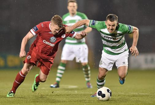 League of Ireland fans are spitting with jealousy about the GAA/Sky deal - so why are Gah heads so against it? Shane Robinson, Shamrock Rovers, in action against Danny North, Sligo Rovers.