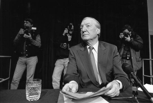 Charles Haughey gives a press conference about the phone tapping scandal. Photo: John Carlos