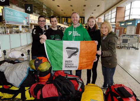 Climbers Niall O' Byrnes, second from left, with his brother Jay, left, and Paul Devaney, centre, from Longford, with his sisters Niamh, right, and Frances, at Dublin airport. Photo: Caroline Quinn