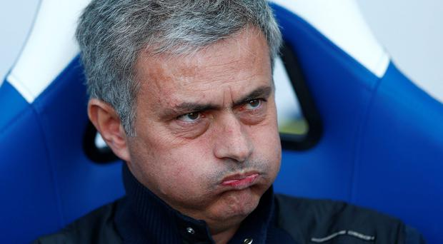Chelsea's manager Jose Mourinho reacts during his side's game with Crystal Palace