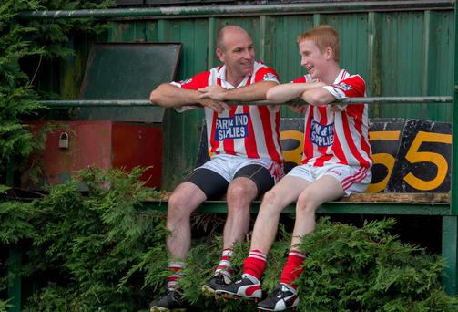 DJ Carey and his son Sean pictured at the Young Irelands grounds in Gowran Co Kilkenny. Picture Dylan Vaughan.