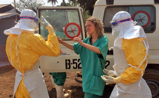 Medecins Sans Frontieres work in an ebola hit area.