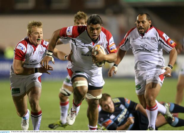 John Afoa, Ulster, breaks through the Cardiff Blues defence.