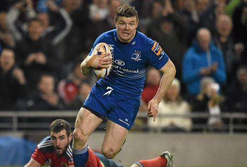 Leinster's Brian O'Driscoll on his way to scoring his side's only try last week against Munster