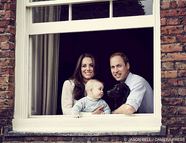 The Duke and Duchess of Cambridge, with Prince George and dog Lupo in their new home. Photo: Jason Bell/Camera Press /PA Wire