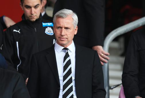 Alan Pardew the Newcastle United manager takes his seat during the Barclays Premier League match between Southampton and Newcastle United