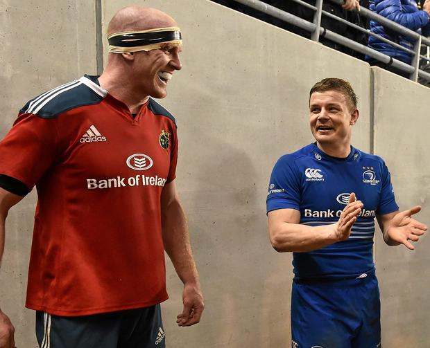Brian O'Driscoll, Leinster, and Paul O'Connell, Munster, share a moment after an inter-provicial game