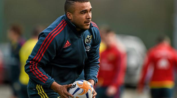 25 March 2014; Munster's Simon Zebo in action during squad training ahead of their Celtic League 2013/14, Round 18, game against Leinster on Saturday. Munster Rugby Squad Training, The Mardyke Arena, UCC, Cork. Picture credit: Diarmuid Greene / SPORTSFILE