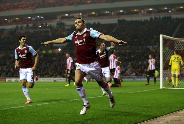 Andy Carroll celebrates giving West Ham the lead against Sunderland