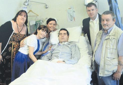 Campaign: David supported by his family and fiancee Bernadette Dolan