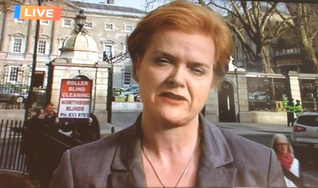 The plucky businessman paraded around with his sign behind reporter Ursula Halligan.