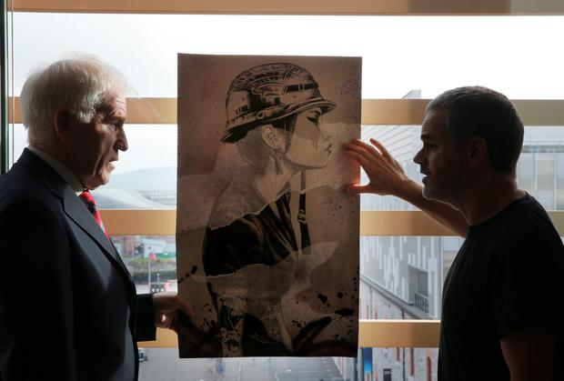 Jimmy Deenihan with Finbar Dac, the new Artist in Residence at the Gibson Hotel, Dublin Docklands, Dublin 1. Picture: Arthur Carron
