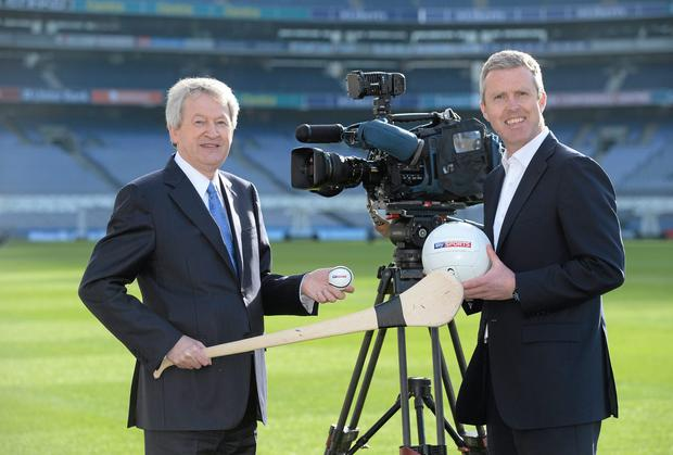A winning team? Ard Stiúrthóir Paraic Duffy and managing director at Sky Ireland, JD Buckley, at Croke Park for the launch of the new Sky TV GAA package