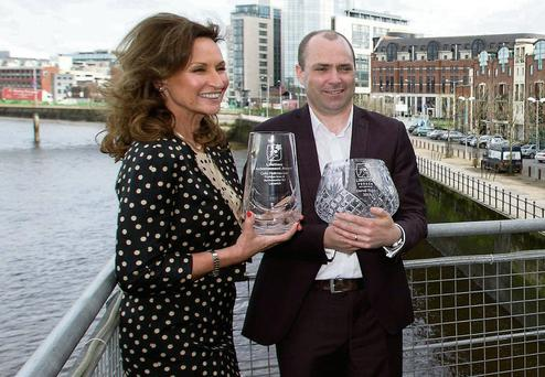 Novelist Donal Ryan and fashion stylist and TV presenter Celia Holman Lee honoured with Lifetime Achievement Awards at the Clarion Hotel, Limerick.