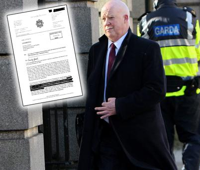 Brian Purcell, the Secretary General of the Department of Justice, entering Leinster House yesterday morning. Inset: The letter from Martin Callinan to Alan Shatter. Picture: Tom Burke