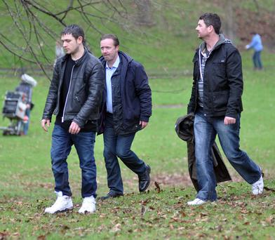 Paul Ronan (centre) pictured filming season five of Love/Hate. Picture: John Dardis