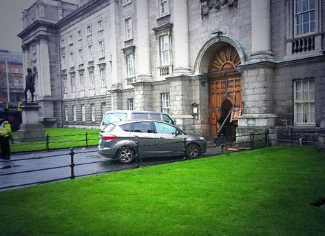The scene at Trinity college this morning. Photo credit: Brian J Smyth