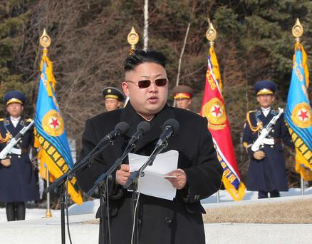 North Korean leader Kim Jong Un addresses commanding officers of the combined units of the Korean People's Army (KPA) in this undated photo released by North Korea's Korean Central News Agency (KCNA) in Pyongyang April 2, 2014. REUTERS/KCNA (NORTH KOREA - Tags: POLITICS MILITARY) ATTENTION EDITORS - THIS PICTURE WAS PROVIDED BY A THIRD PARTY. REUTERS IS UNABLE TO INDEPENDENTLY VERIFY THE AUTHENTICITY, CONTENT, LOCATION OR DATE OF THIS IMAGE. FOR EDITORIAL USE ONLY. NOT FOR SALE FOR MARKETING OR ADVERTISING CAMPAIGNS. THIS PICTURE IS DISTRIBUTED EXACTLY AS RECEIVED BY REUTERS, AS A SERVICE TO CLIENTS. NO THIRD PARTY SALES. NOT FOR USE BY REUTERS THIRD PARTY DISTRIBUTORS. SOUTH KOREA OUT. NO COMMERCIAL OR EDITORIAL SALES IN SOUTH KOREA