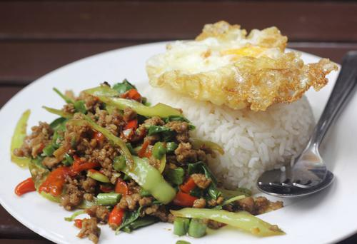 Thai beef stir fry with fragrant rice
