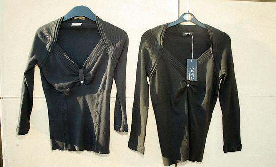 Karen Millen Faux Shrug cami top (left) and the Dunnes Stores black top