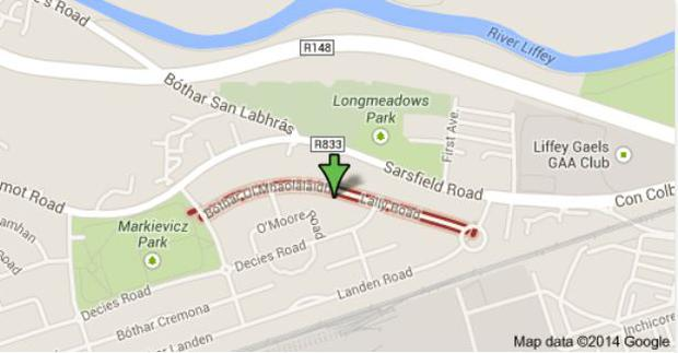 The scene of this evening's shooting in Ballyfermot, Dublin. Photo: Google