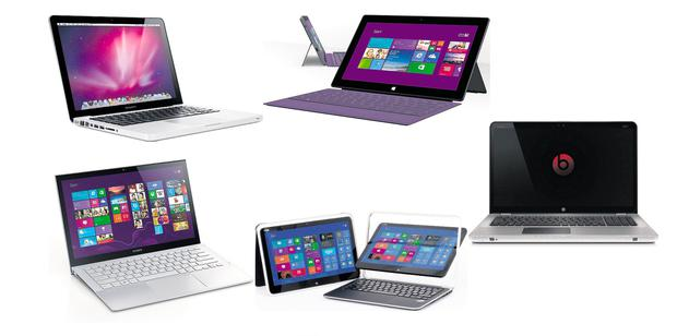 Clockwise from left: MacBook Pro Retina 13 Price: from €1,250; Microsoft Surface Pro 2 Price: €900 (64GB); HP Envy 17 Leap Motion Price: €1,250; Dell XPS 12 Convertible Touch Price: €1,200; Sony Vaio Pro 11 Price: from €1,000