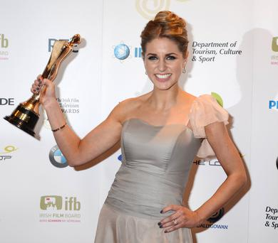 Amy Huberman with her Best Actress IFTA