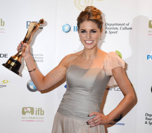 Actress Amy Huberman, winner of Best Actress in a Lead Role for Rewind, at the Irish Film and Television Awards in 2011