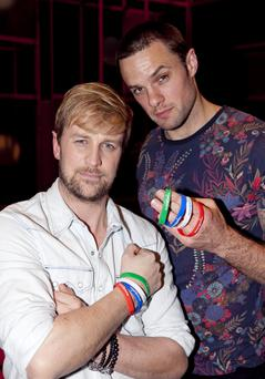 Kian Egan and Bressie taking time out from rehearsals to launch the Make-A-Wish National Charity Day which takes place on Thursday 10th