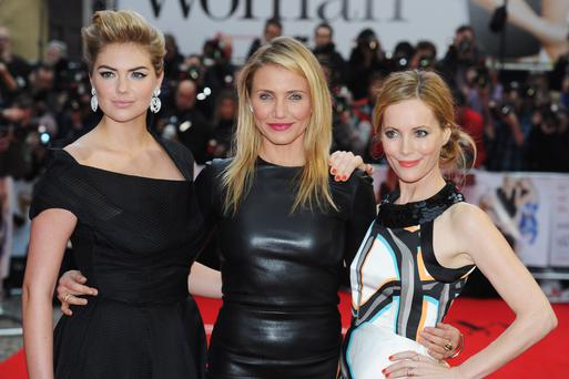 (L-R) Kate Upton, Cameron Diaz and Leslie Mann attend the UK gala premiere of 'The Other Woman' at The Curzon Mayfair on April 2, 2014 in London, England. (Photo by Dave J Hogan/Getty Images)