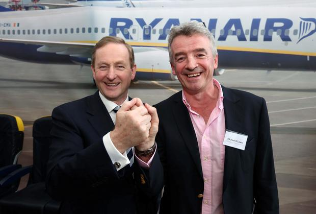 Taoiseach Enda Kenny and Ryanair CEO Michael O'Leary. Ryanair recently announced it is to create 200 new jobs at its new Dublin office campus; the Central Bank says employment is set to grow at a faster rate than expected. Picture: Colin Keegan