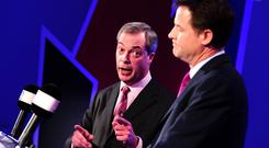 Nigel Farage of UKIP is seen during the first televised debate with Nick Clegg (R). Photo: Getty Images