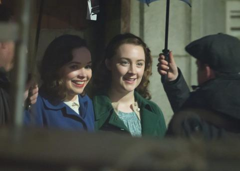 Saoirse Ronan in Enniscorthy, Co Wexford during filming of the film, Brooklyn.