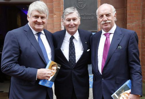 "Denis O'Brien (left) with Dr. Michael WJ Smurfit and Dermot Desmond (right), pictured at the launch Michael Smurfits autobiography ""A Life Worth Living"", held in the UCD Michael Smurfit Graduate Business School"
