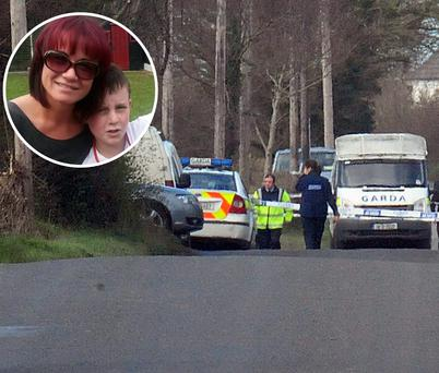 The scene of the crash where Jack Wyer was killed and, inset, Jack with mum Ramona
