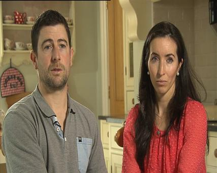 Amy Delahunt and Ollie Kelly parents of Mary Kate who died in May 2013 at Portlaoise Hospital. Credit: RTE