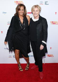 Designer Donna Karan and actress Deborra-Lee Furness attend the 5th Annual Women In The World Summit at the David Koch Theatre at Lincoln Center on April 3, 2014 in New York City. (Photo by Jemal Countess/Getty Images)