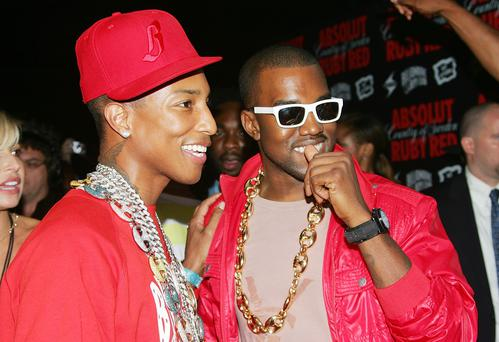 Hip-hop artists Pharrell Williams and Kanye West