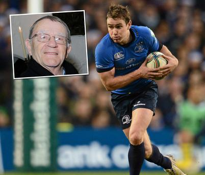 Leinster rugby scrum half Eoin Reddan and, inset, his father Don